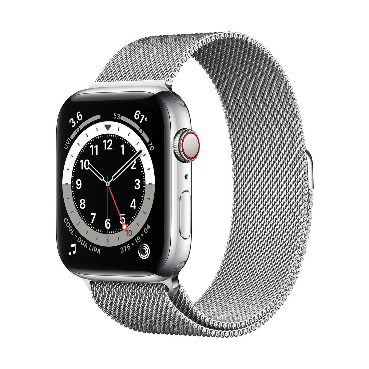 Apple Watch (Series 6) GPS+Cellular 44 mm-es ezüstszínű rozsdamentesacél tok, milánói szíj
