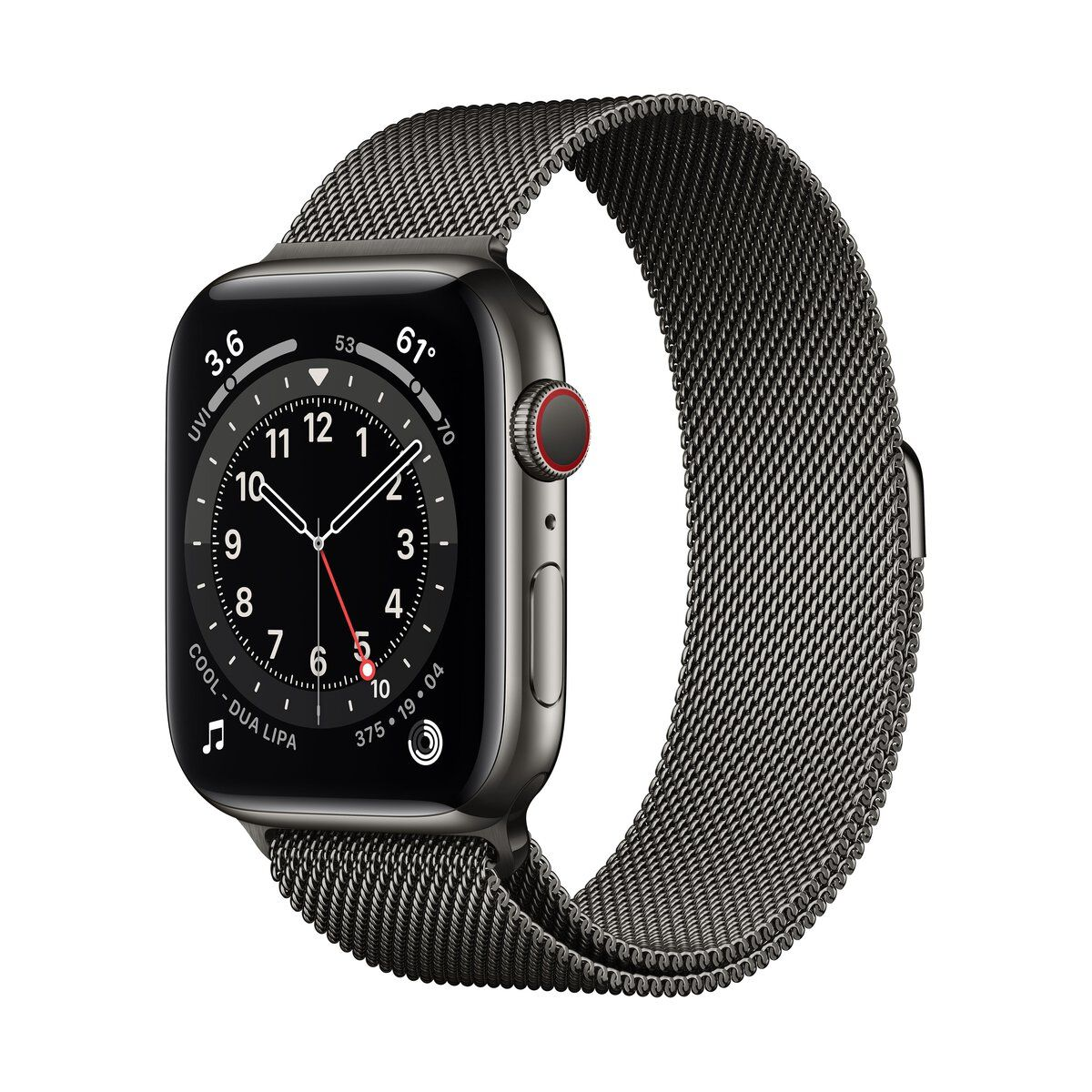 Apple Watch (Series 6) GPS+Cellular 44 mm-es grafitszínű rozsdamentesacél tok, grafitszínű milánói szíj