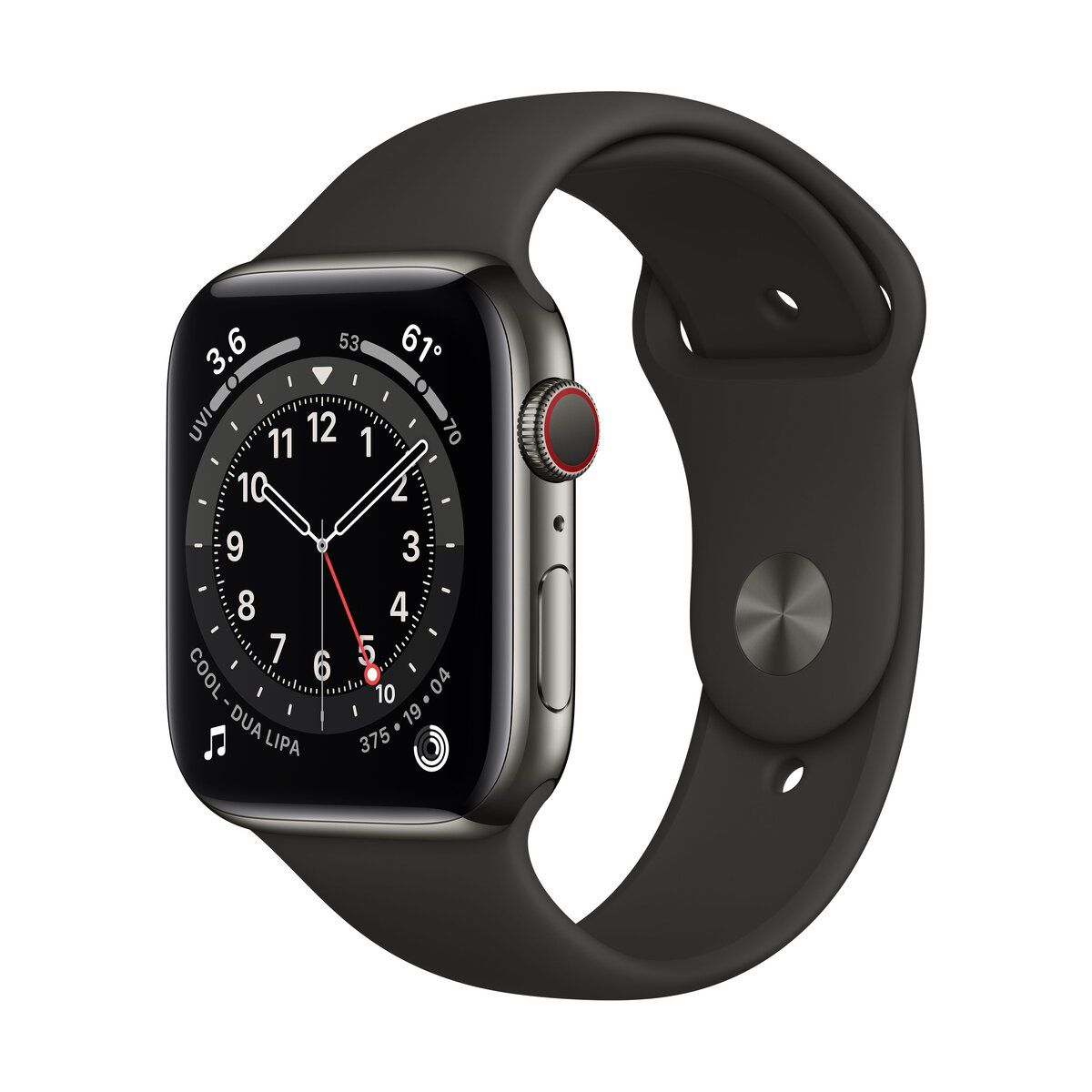 Apple Watch (Series 6) GPS+Cellular 44 mm-es grafitszínű rozsdamentesacél tok, fekete sportszíj